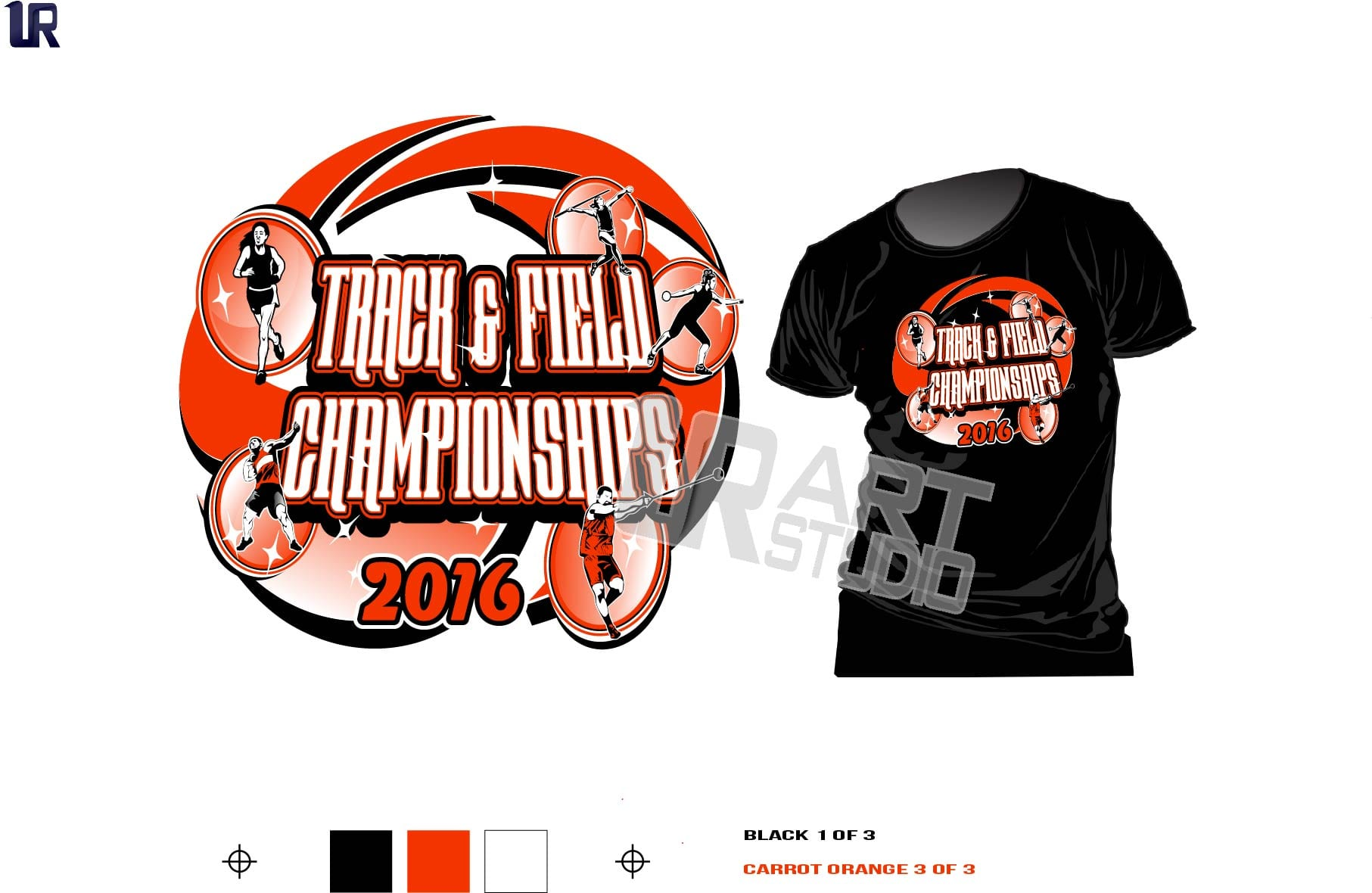Color SEPARATED For Screen Printing T Shirt Logo Design Track And Field Championship Vector