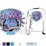DOWNLOAD swimming tshirt vector design 4 color separated for print layered