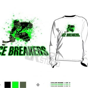 ICE BREAKER SLED HOCKEY tshirt vector design 3 colors separated for print layered