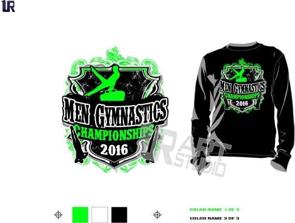 Men Gymnastics Championships tshirt vector design 3 colors separated for print layered