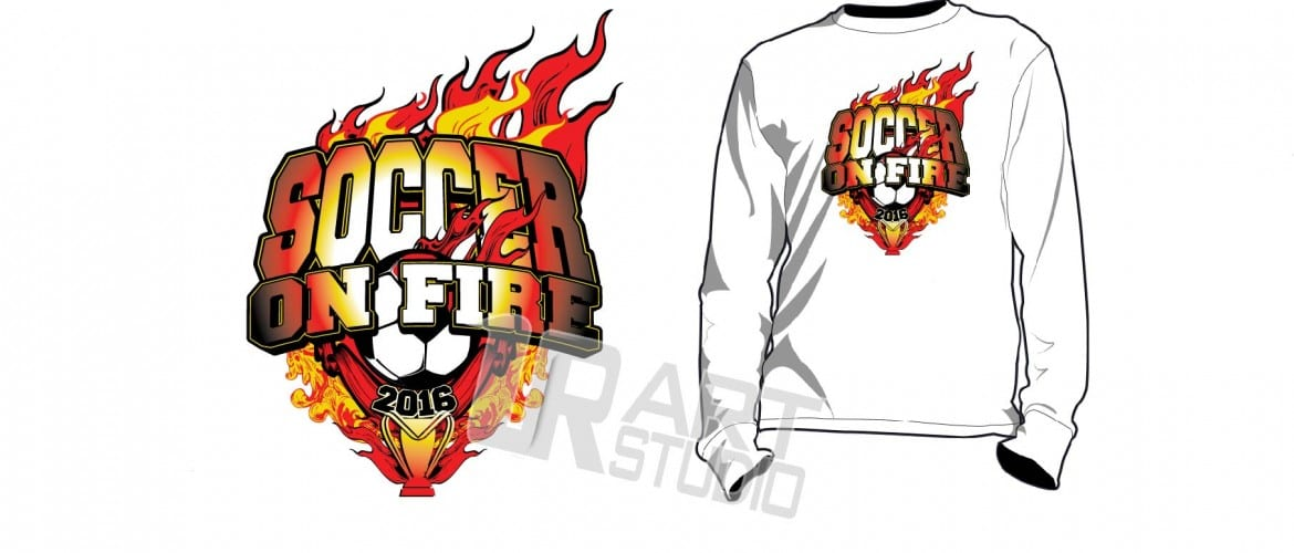 Soccer on Fire tournament tshirt vector design with nice background color seperated ready for screen print