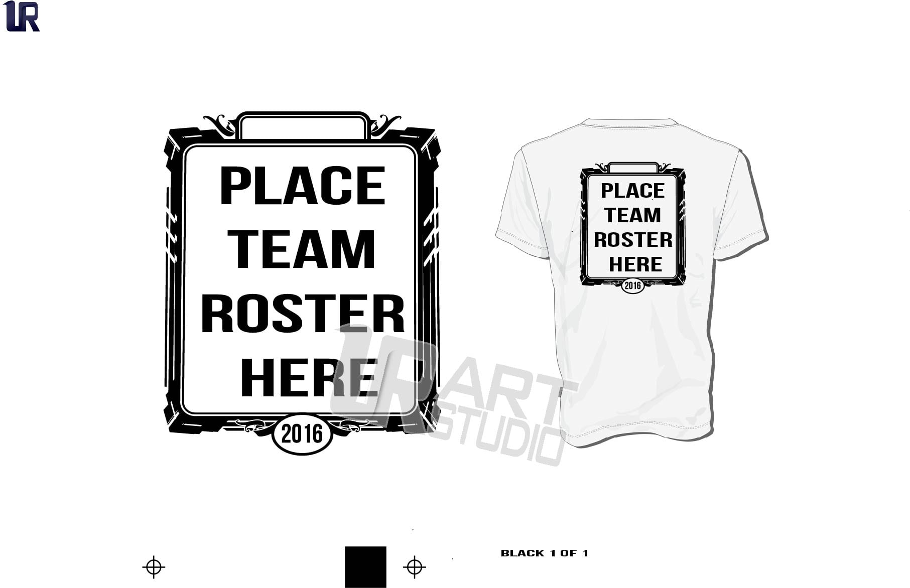 Vector Frame for the Back of the Tshirt for Team Roster Names one color black color separated for screen print 2016 UrArtStudio