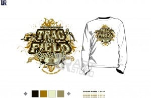 Color seperated Track and Field invitational vector design for print on Tshirt and other apparel