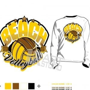 FREE DOWNLOAD Color separated Beach Volleyball vector design for print on Tshirt and other apparel