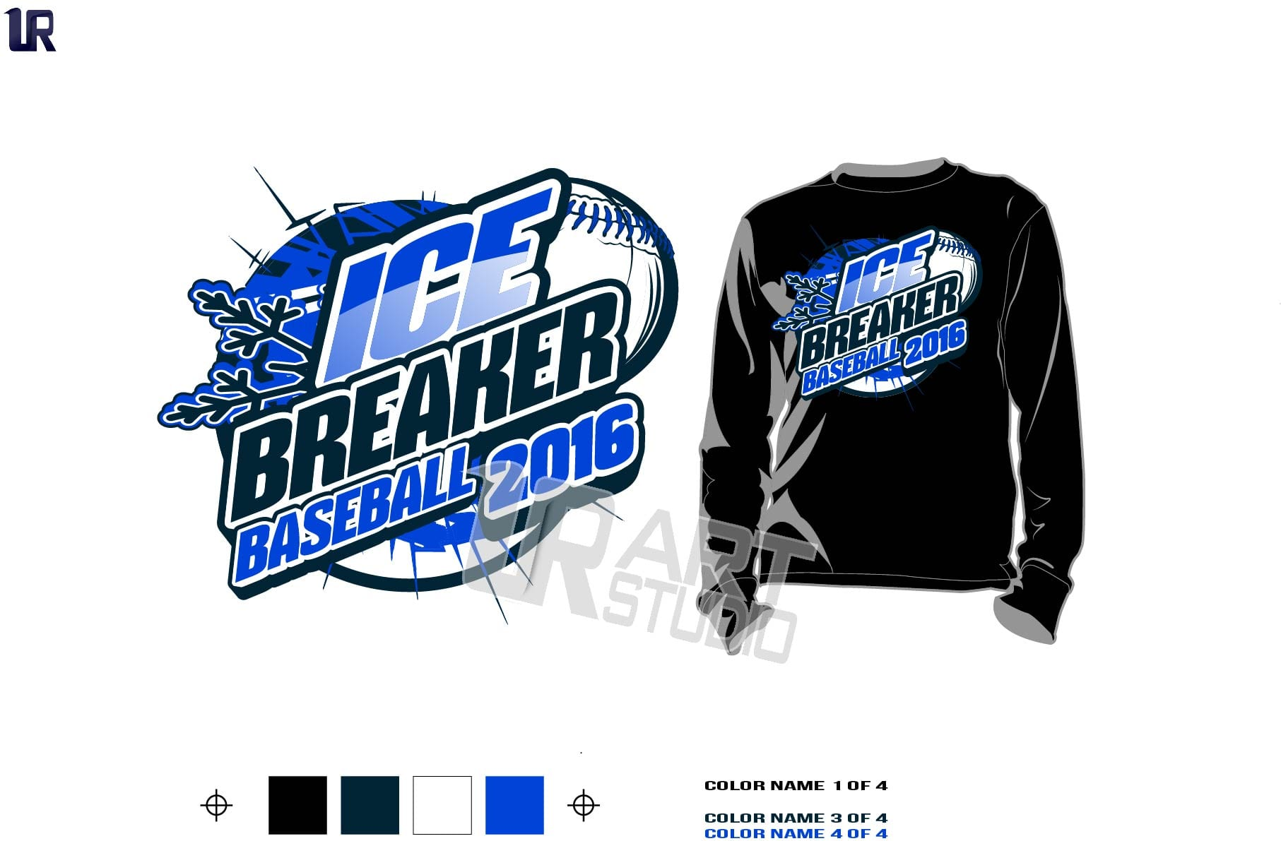 DOWNLOAD AWESOME ICE BREAKER BASEBALL TSHIRT VECTOR LOGO DESIGN COLOR SEPARATED 4 SPOT COLORS FOR