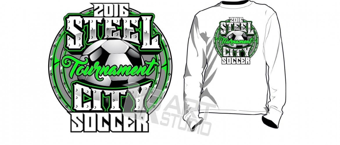 Download soccer steel city tshirt vector design, layered, four spot colors, color separated by UrArtStudio