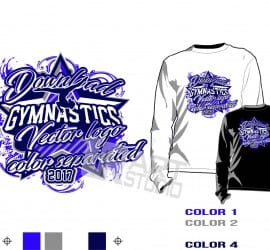 Girl Gymnastics tshirt vector design 4 color separated