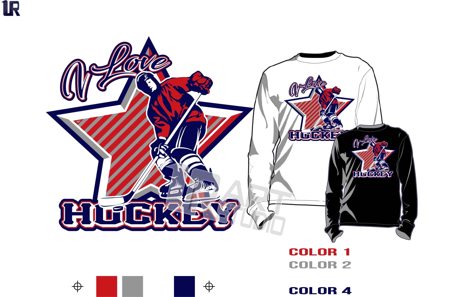 I LOVE HOCKEY FREE tshirt vector design 4 color separated