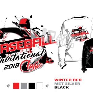 BASEBALL INVITATIONAL or CLASSIC tshirt vector design separated 4 color
