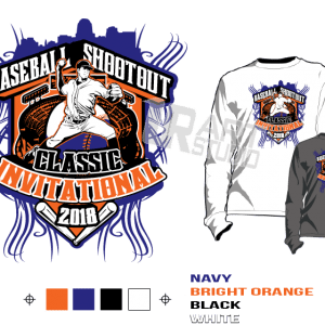 BASEBALL SHOOTOUT CLASSIC INVITATIONAL 2018 tshirt vector design separated 4 color