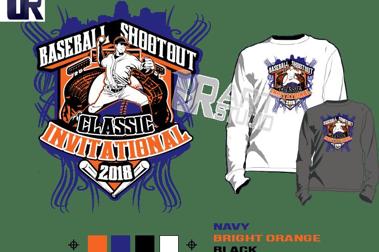 BASEBALL SHOOTOUT CLASSIC INVITATIONAL 2018 tshirt vector design separated 4 color