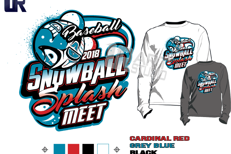 BASEBALL SNOWBALL SPLASH MEET tshirt vector design separated 4 color