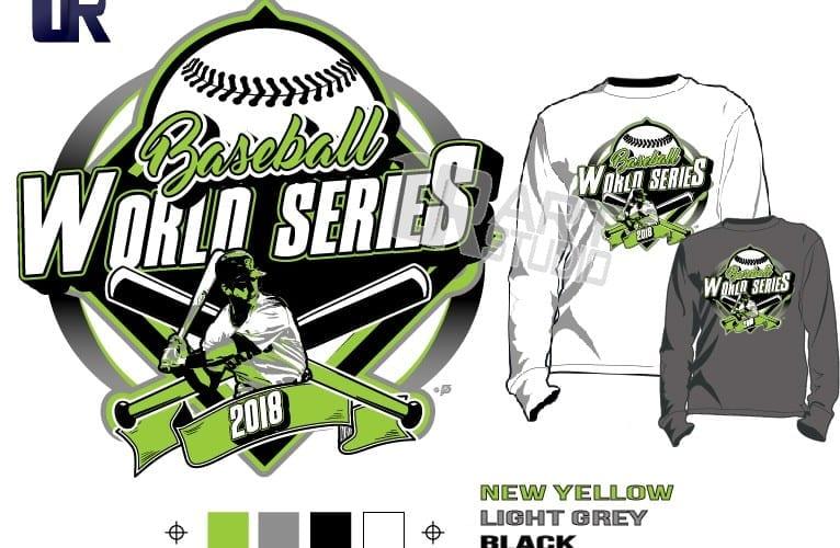 BASEBALL WORLD SERIES 2018 tshirt vector design separated 4 color