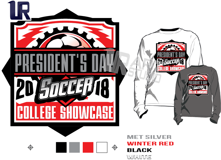 PRINT 2018 PRESIDENT'S DAY SOCCER COLLEGE SHOWCASE Tshirt vector design separated 5 color