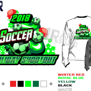 PRINT 2018 SOCCER HOLIDAY SHOOTOUT Tshirt vector design separated 5 color