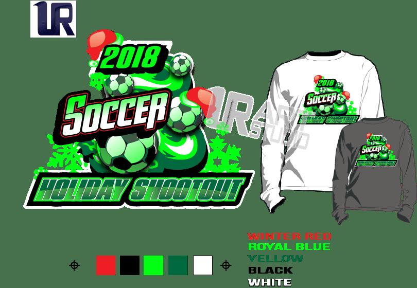PRINT 2018 SOCCER HOLIDAY SHOOTOUT Tshirt vector design separated 5 color