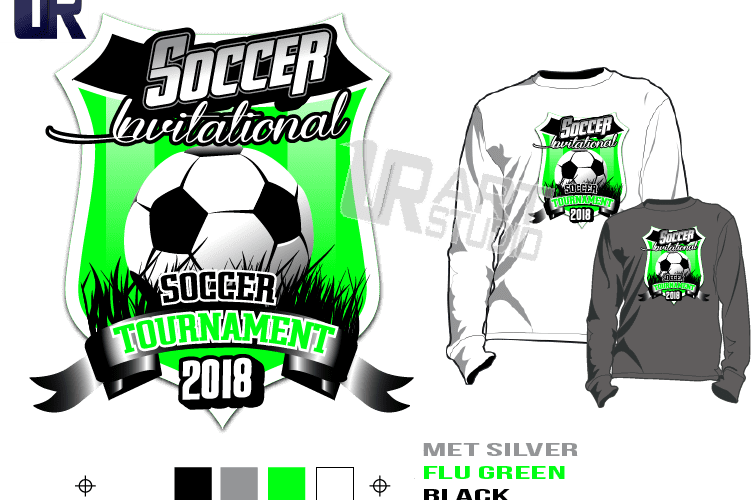 PRINT 2018 SOCCER INVITATIONAL TOURNAMENT Tshirt vector design separated 4 color