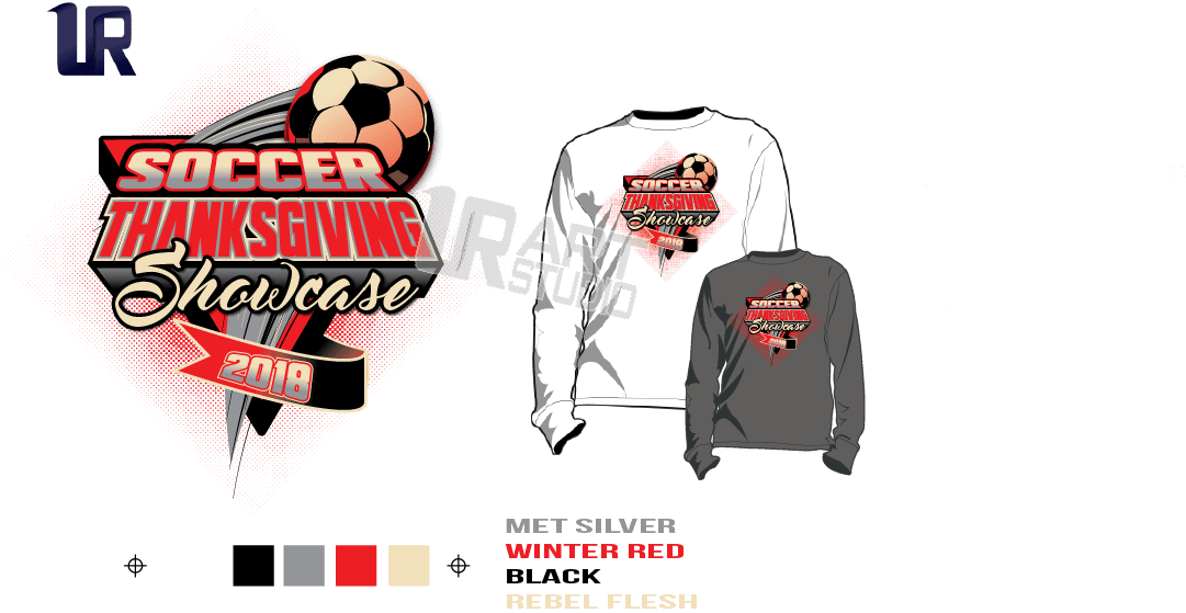 DOWNLOAD PRINT 2018 SOCCER THANKSGIVING SHOWCASE Tshirt vector design separated 4 color