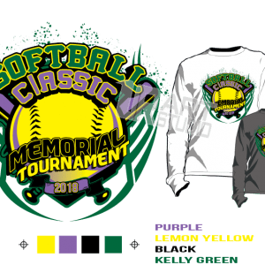 SOFTBALL CLASSIC MEMORIAL TOURNAMENT 2018 tshirt vector design separated 4 color