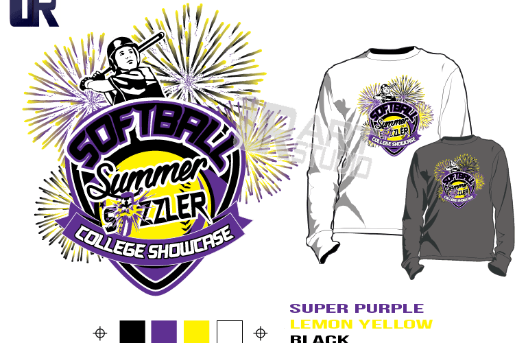 SOFTBALL SUMMER SIZZLER COLLEGE SHOWCASE tshirt vector design separated 4 color