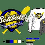 SOFTBALL championship Tshirt vector design separated 4 color