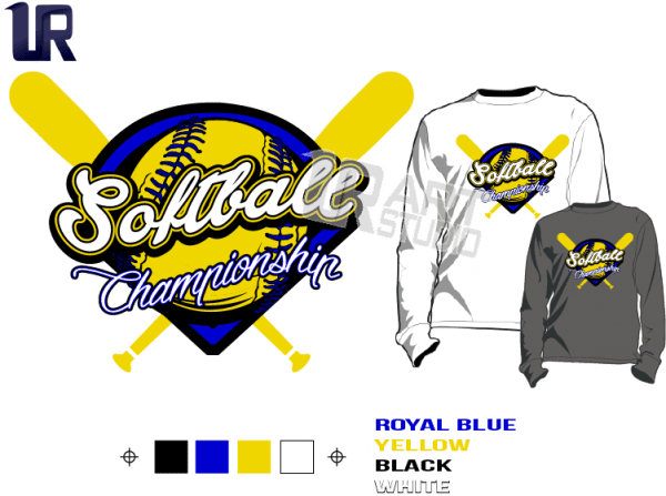 SOFTBALL championship Tshirt vector design separated 4 color