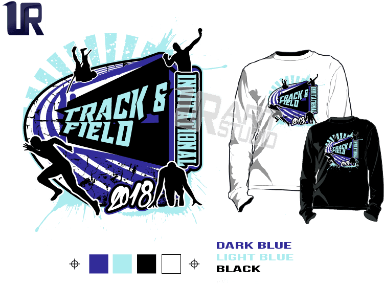 TRACK & FIELD INVITATIONAL tshirt vector design separated 4 color