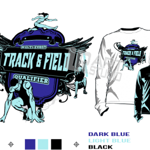 TRACK & FIELD QUALIFIER MULTI EVENT tshirt vector design separated 3 color
