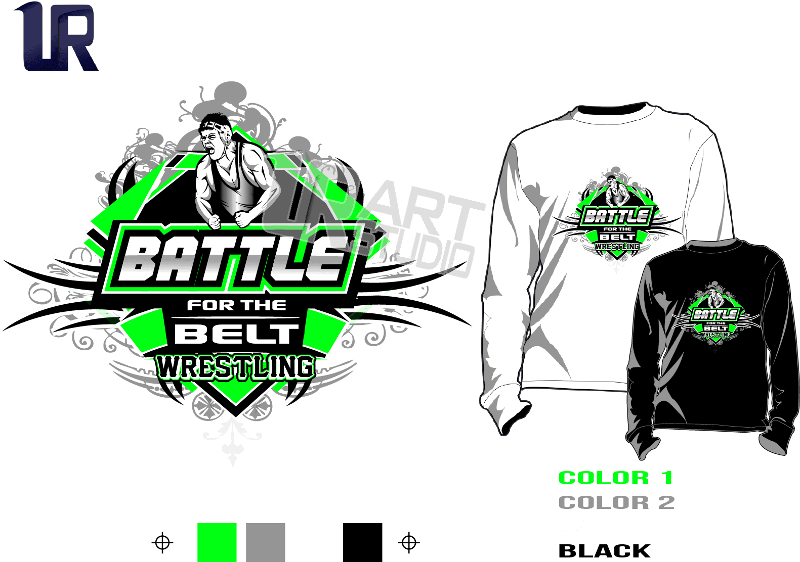 WRESTLING BATTLE FOR THE BELT tshirt vector design separated 4 color