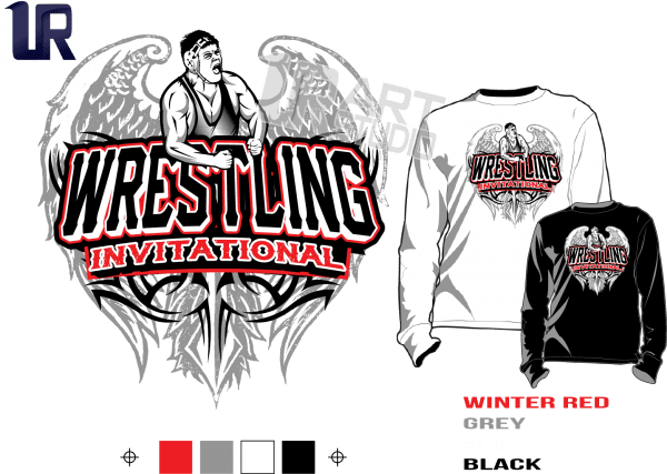 WRESTLING INVITATIONAL tshirt vector design separated 4 color