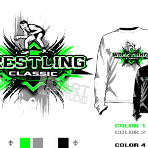 WRESTLING tshirt vector design separated 4 color