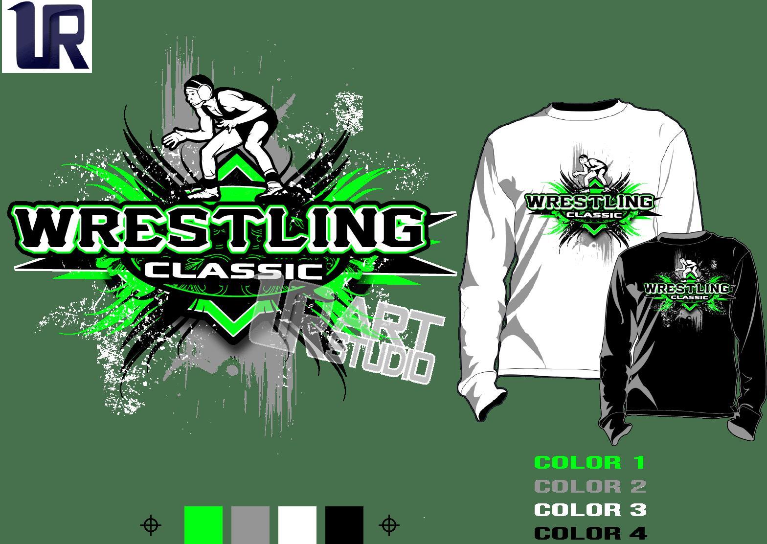 Wrestling Tshirt Vector Design Separated 4 Color Urartstudio Logos Paintings Art Lessons