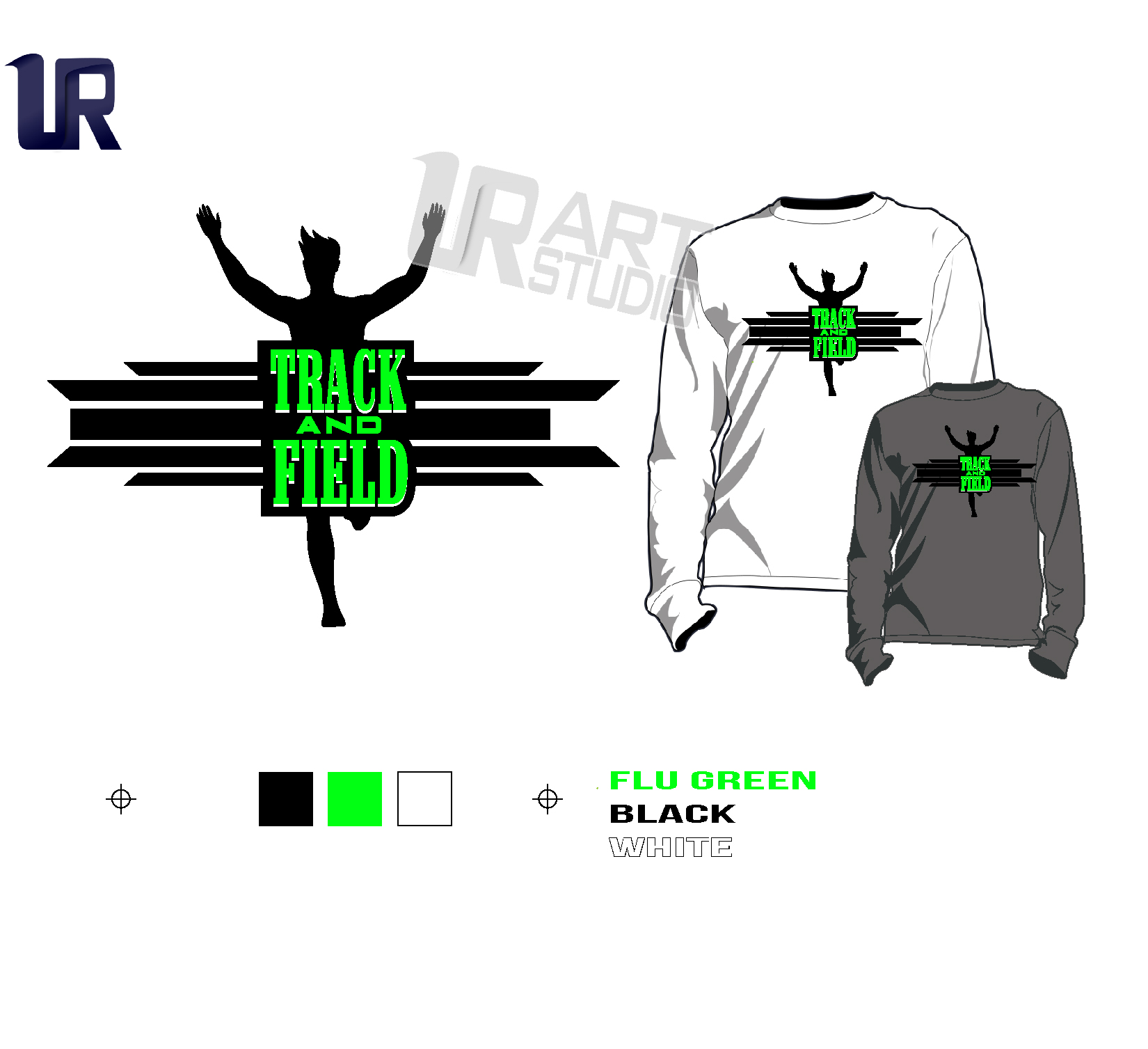 PRINT 2018 TRACK AND FIELD Tshirt vector design separated 3 color